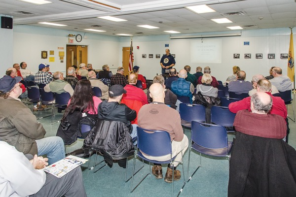 Bruce Tucker presenting for the NEW JERSEY WW2 BOOK CLUB at the Millburn Public Library in Millburn NJ in 2015 on the Japanese Super Submarines of World War 2