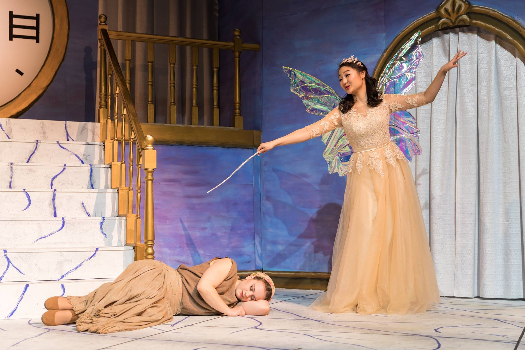 Act I: La Fée, or the Fairy Godmother (Natalie Choo '22), casts a spell on Cendrillon, or Cinderella (Arianna Paz '19). Photo: Joshua Chiang