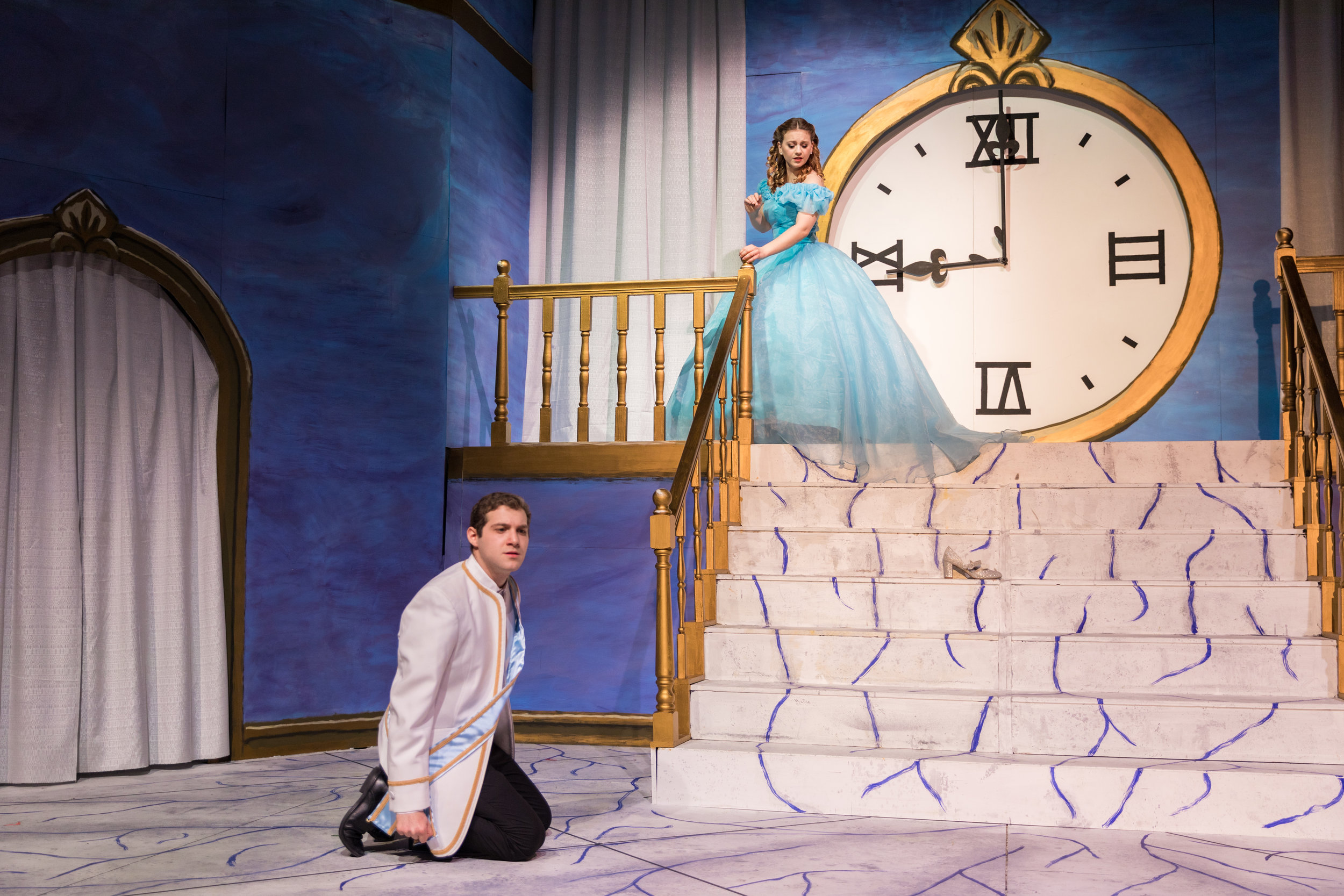 Act II: Cendrillon (Arianna Paz '19) reluctantly runs away from Le Prince Charmant (Samuel Rosner '20) at the Prince's Ball. Photo: Joshua Chiang.