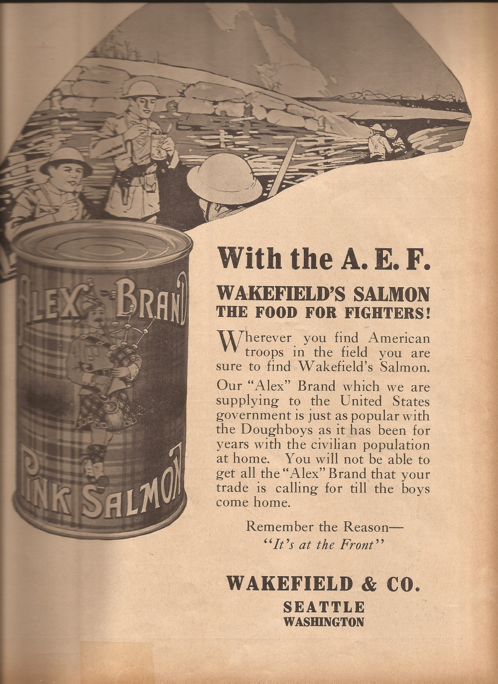 """An advertisement printed in  Pacific Fisherrman in 1918, showing troops eating their """"iron rations."""""""
