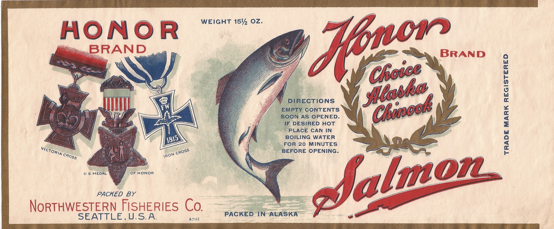 Military themes were adopted on salmon can labels. Courtesy Karen Hofstad.