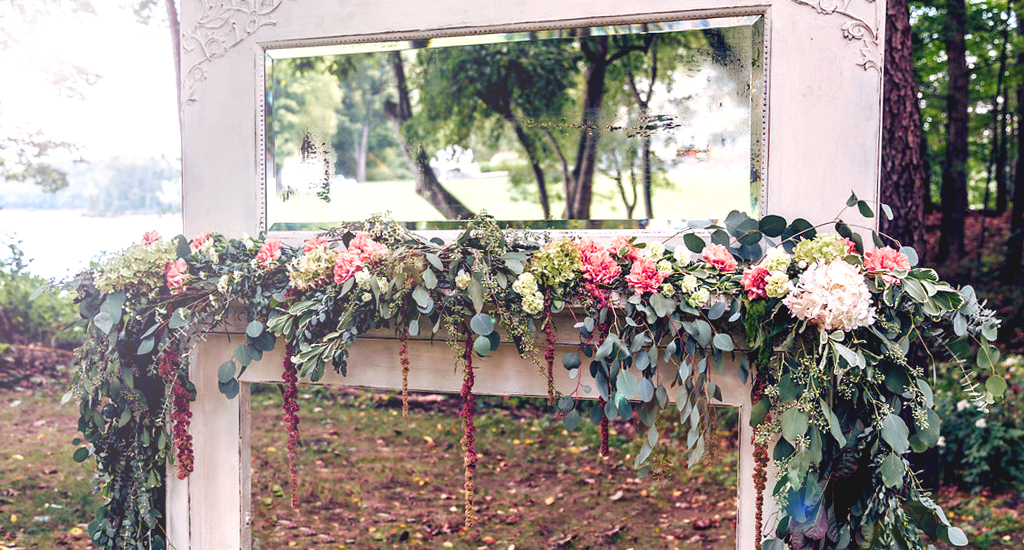 Vintage Mantel with flowers