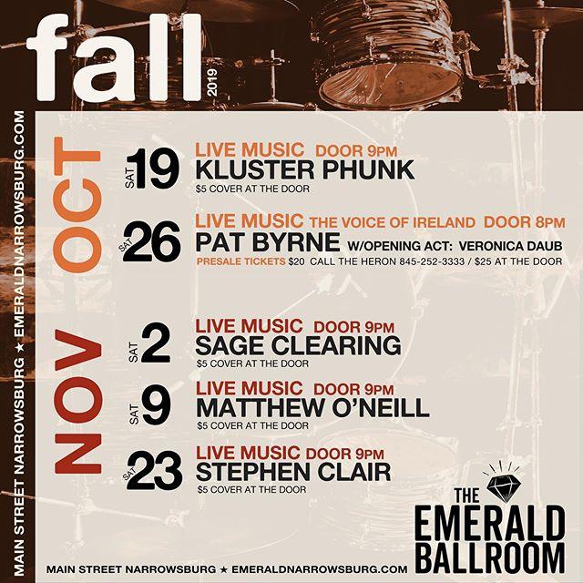 Fall line-up so far in the @theemeraldballroom #livemusic #narrowsburg #sullivancatskills