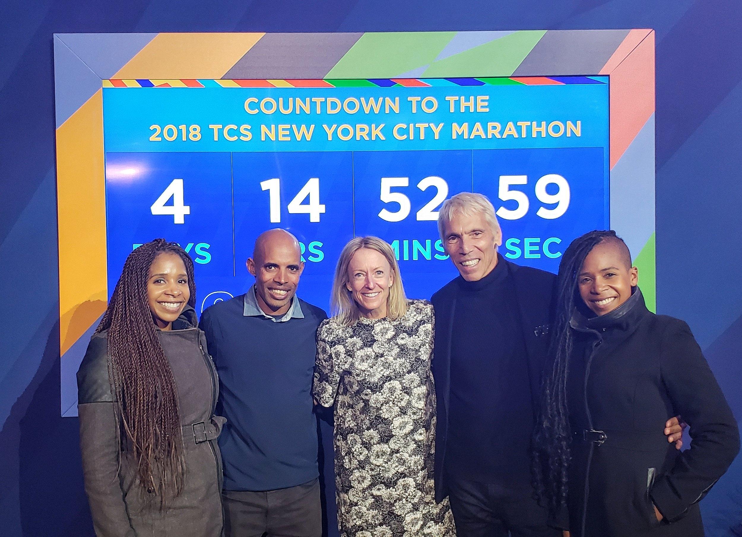 R to L: June, American elite runner Meb Keflezighi, American elite runner Deena Kastor and NYRR TCS marathon director Peter Ciaccia, Joy