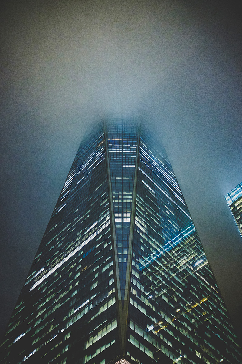 Freedom Tower coverd by clouds