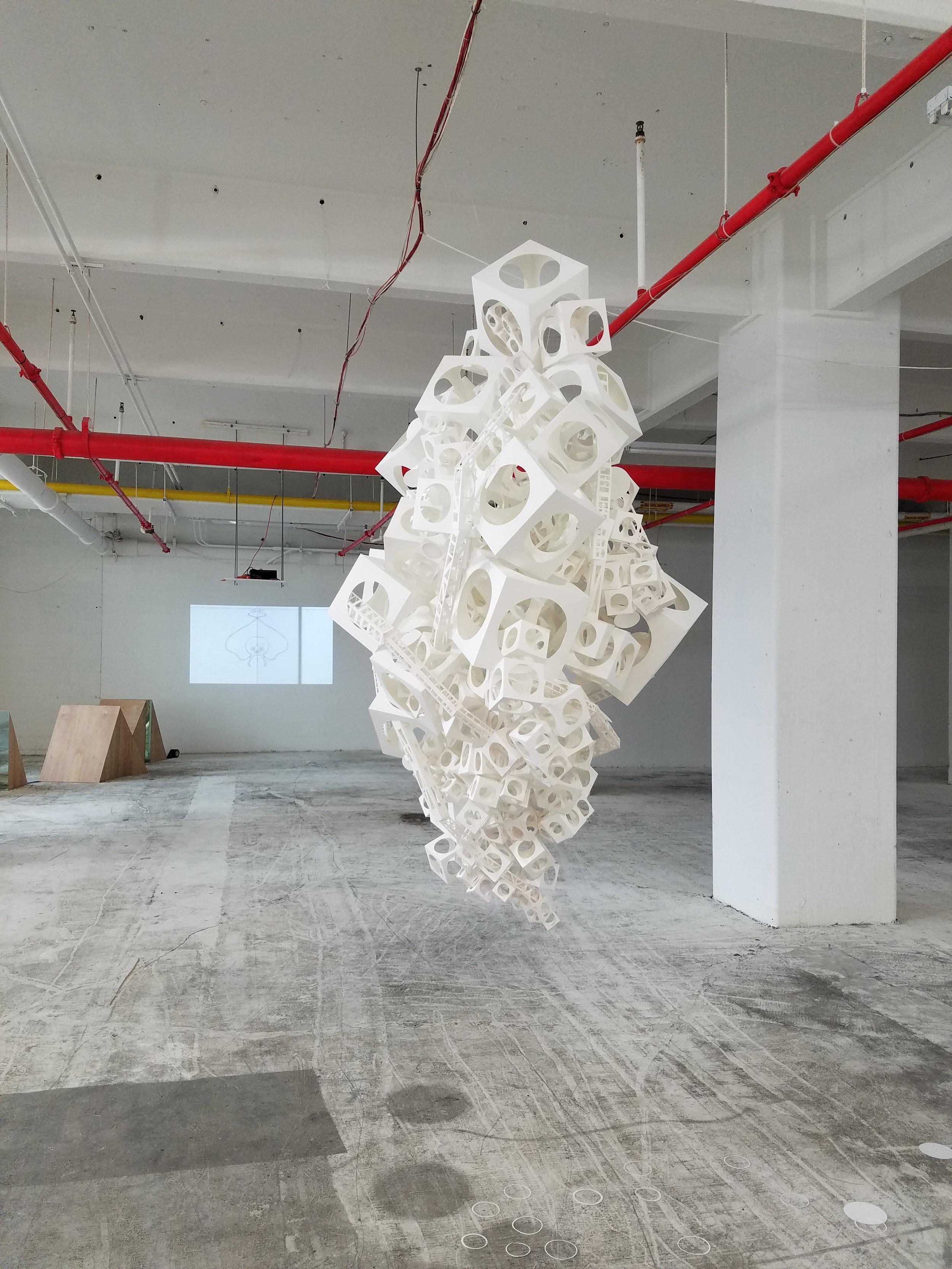 "Cells:Bramble  Graphite, paper, monofilament, mirror, plastic, glue 2016–2017 60"" × 48"" × 36"" Stephanie Beck"