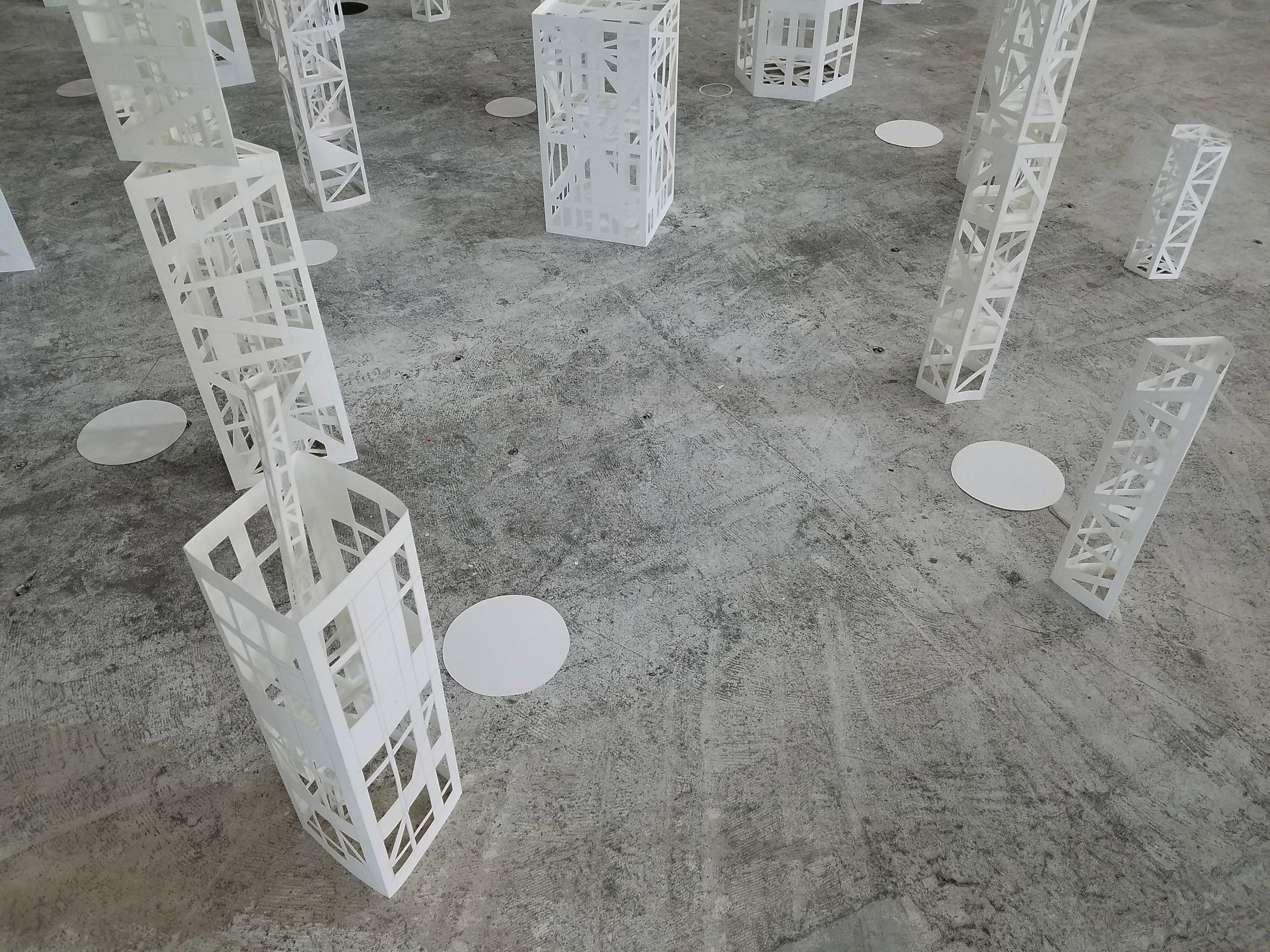 """Towers: Forest  Graphite, paper, monofilament, glue 2016–2017 120"""" × 240"""" × 216"""" (entire installation) Stephanie Beck"""