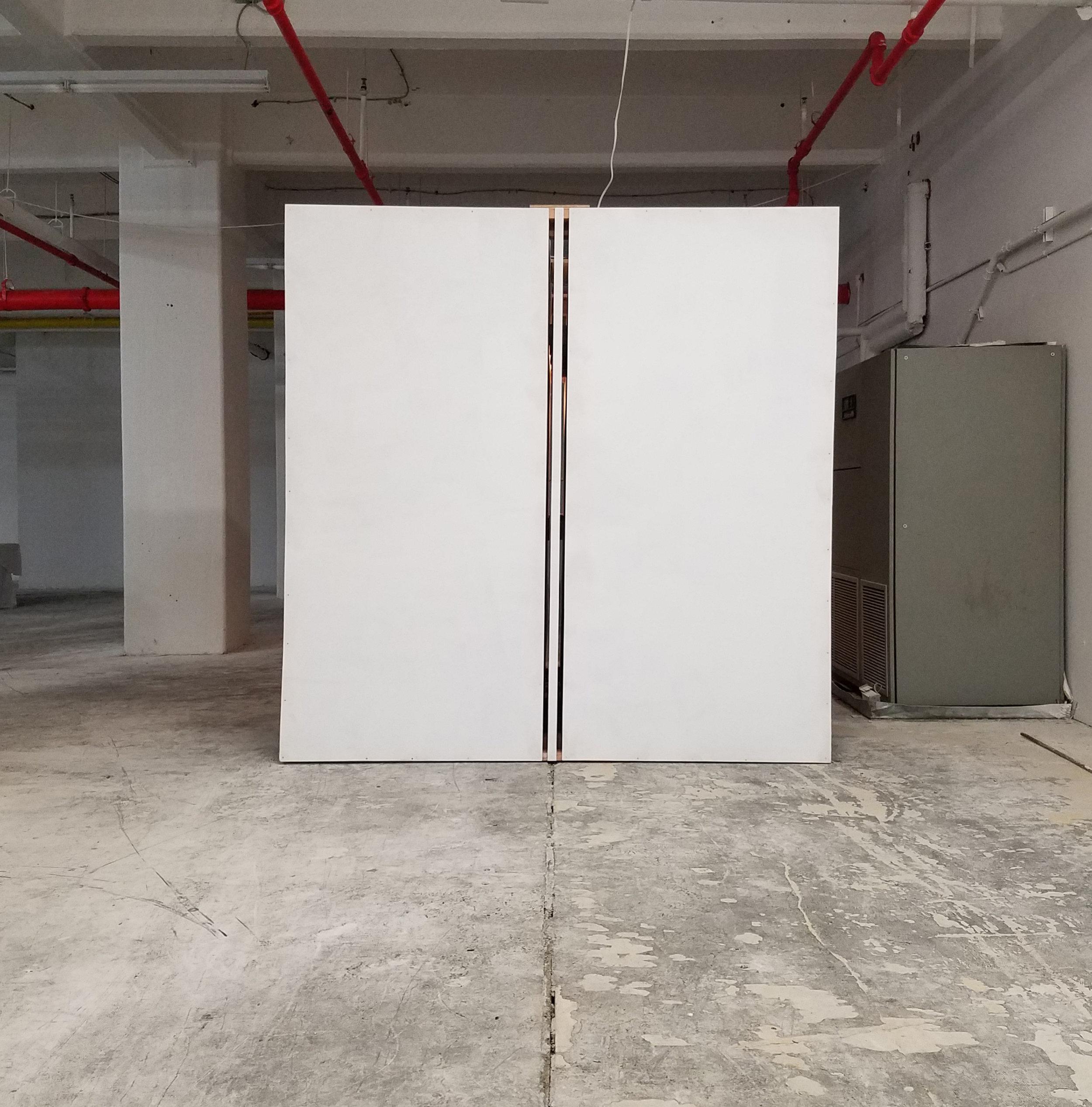"Parallax 6   2×4s, plywood, paint, found objects 2017 96"" × 96""× 96"" Derek Frankhouser"