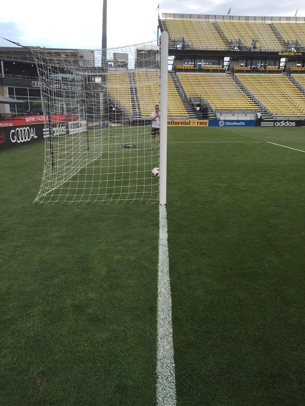 On goal line