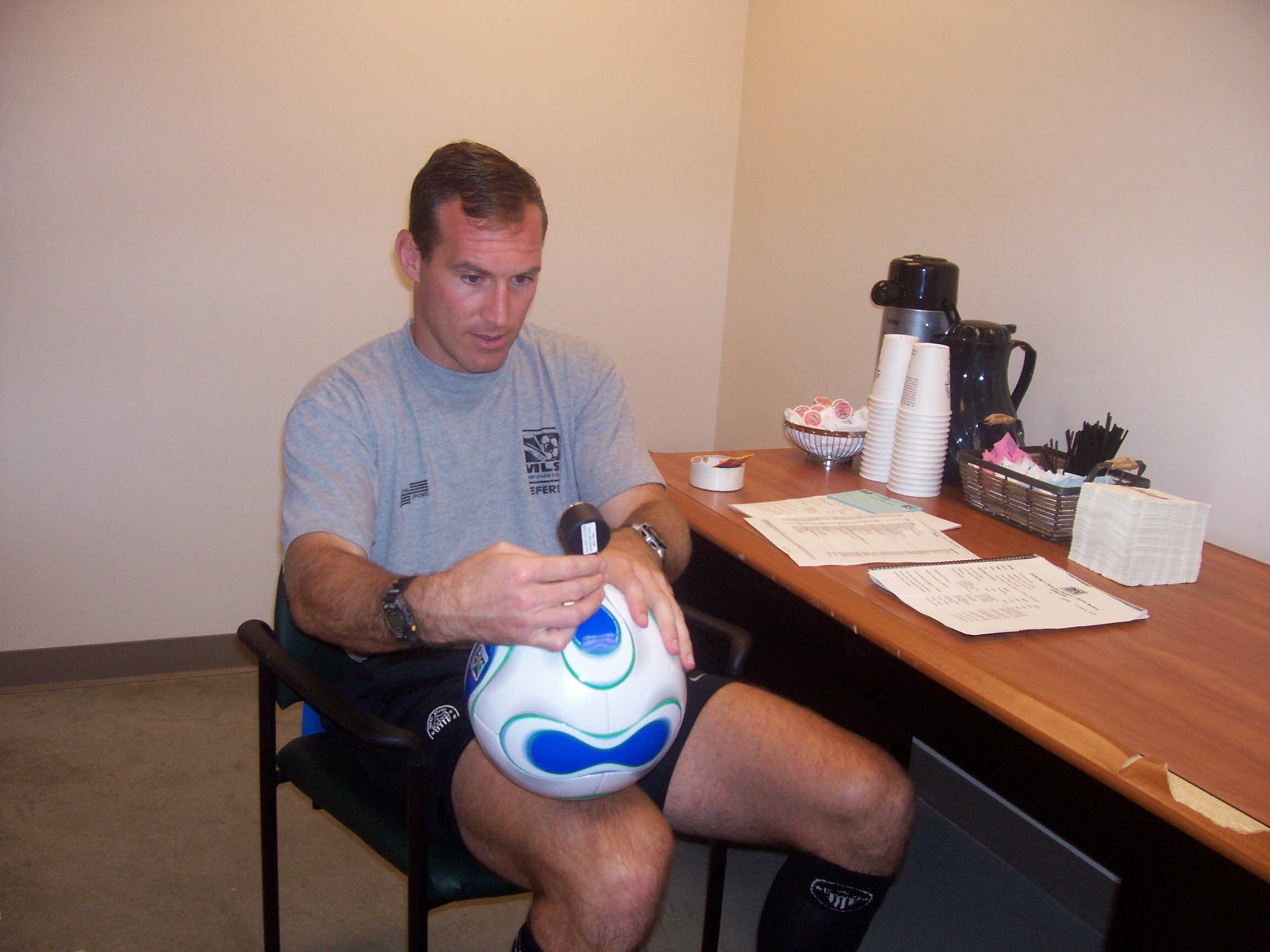 FIFA and MLS referee Terry Vaughn, sometime in 2005. PRO assistant referees are all wearing blue wristbands in support of Terry and Huntington Disease Awareness Month. To find out more and how you can contribute,  click here.