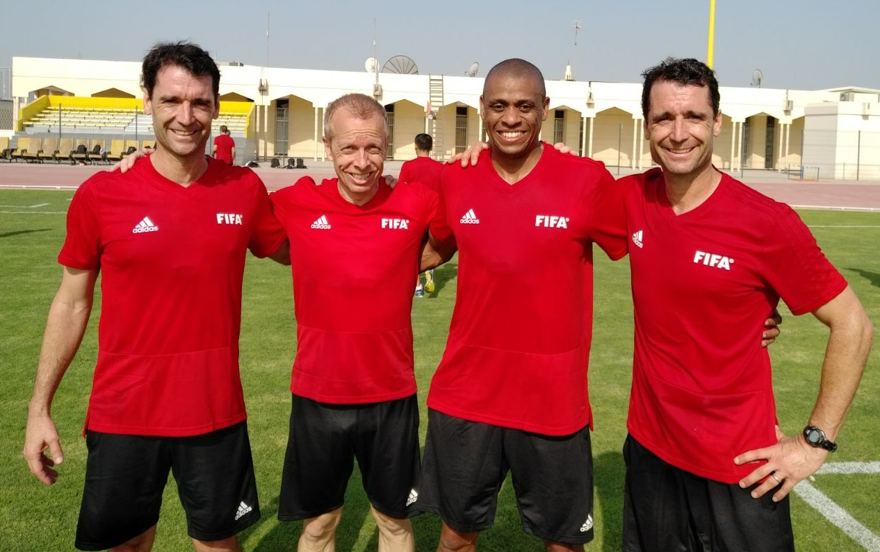 Ian Anderson, Corey Rockwell, Joe Fletcher and Frank Anderson after passing the fitness test at the Pre World Cup Referee Seminar this month.