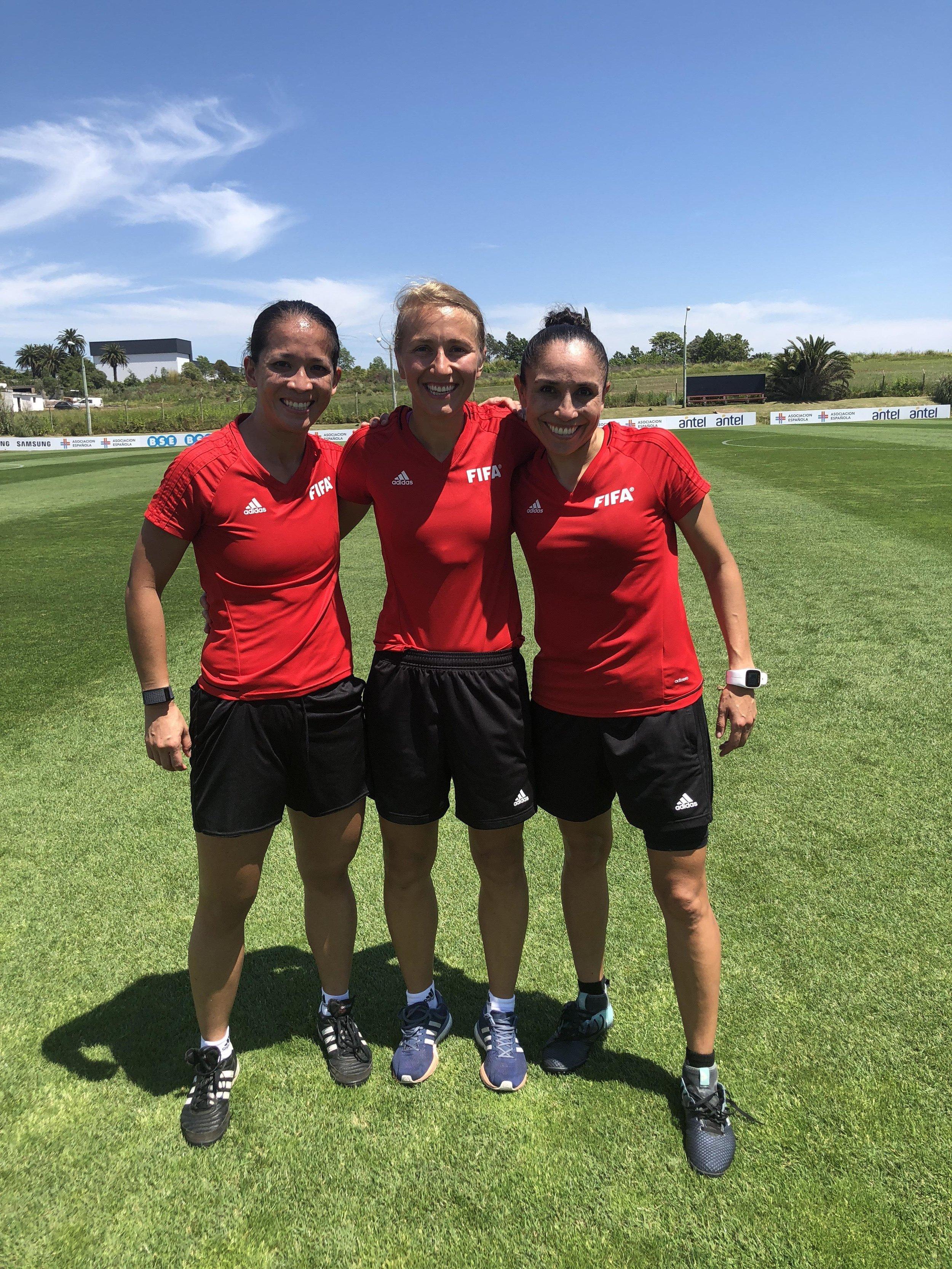 Deleana Quan, Ekaterina Koroleva and Felisha Mariscal representing the United States and the Women's U-17 World Cup in Uruguay.