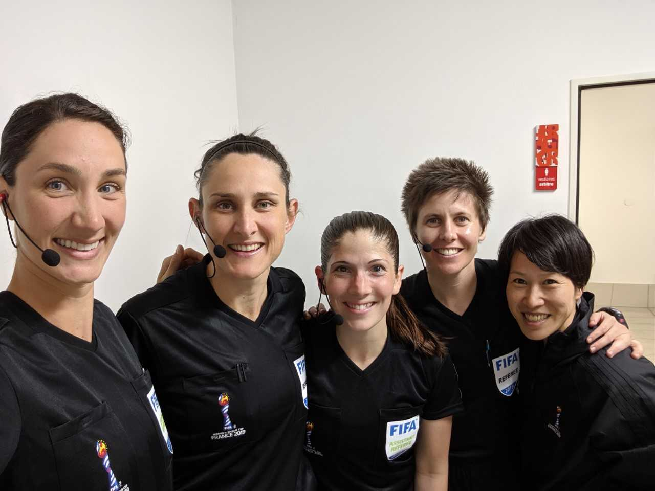 Katy Nesbitt representing PRO and the USA at the Women's World Cup. (AR Chantal Boudreau from Canada is in the middle.)