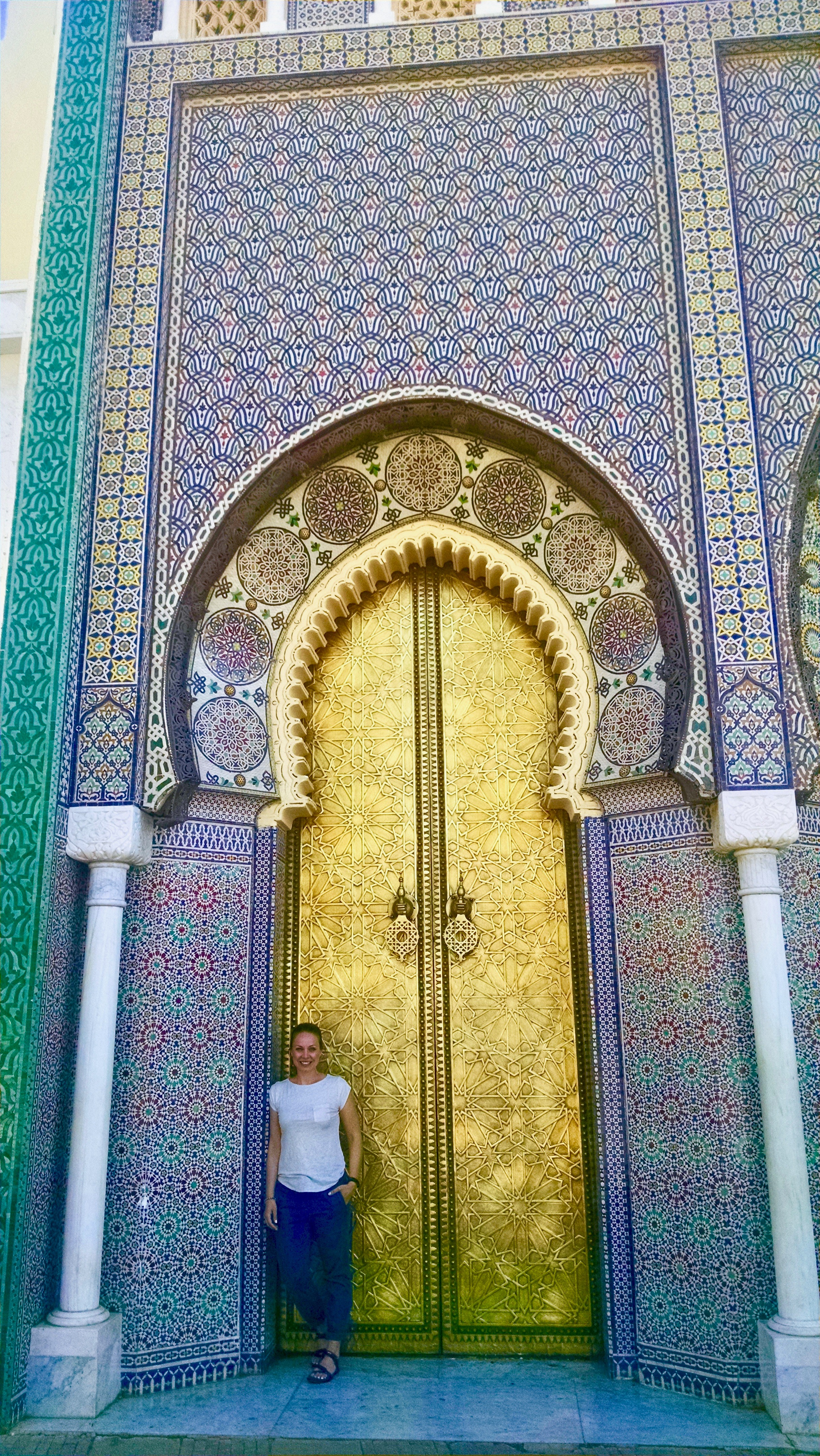 The famous gold doors of the royal palace in Fes, Morocco.
