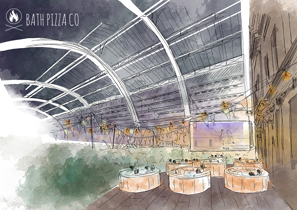 Artist's impression of how the hot tub, movie & pizza evenings could look in the historic Green Park Station in Bath city centre.  Artist: Elena Oliinyk
