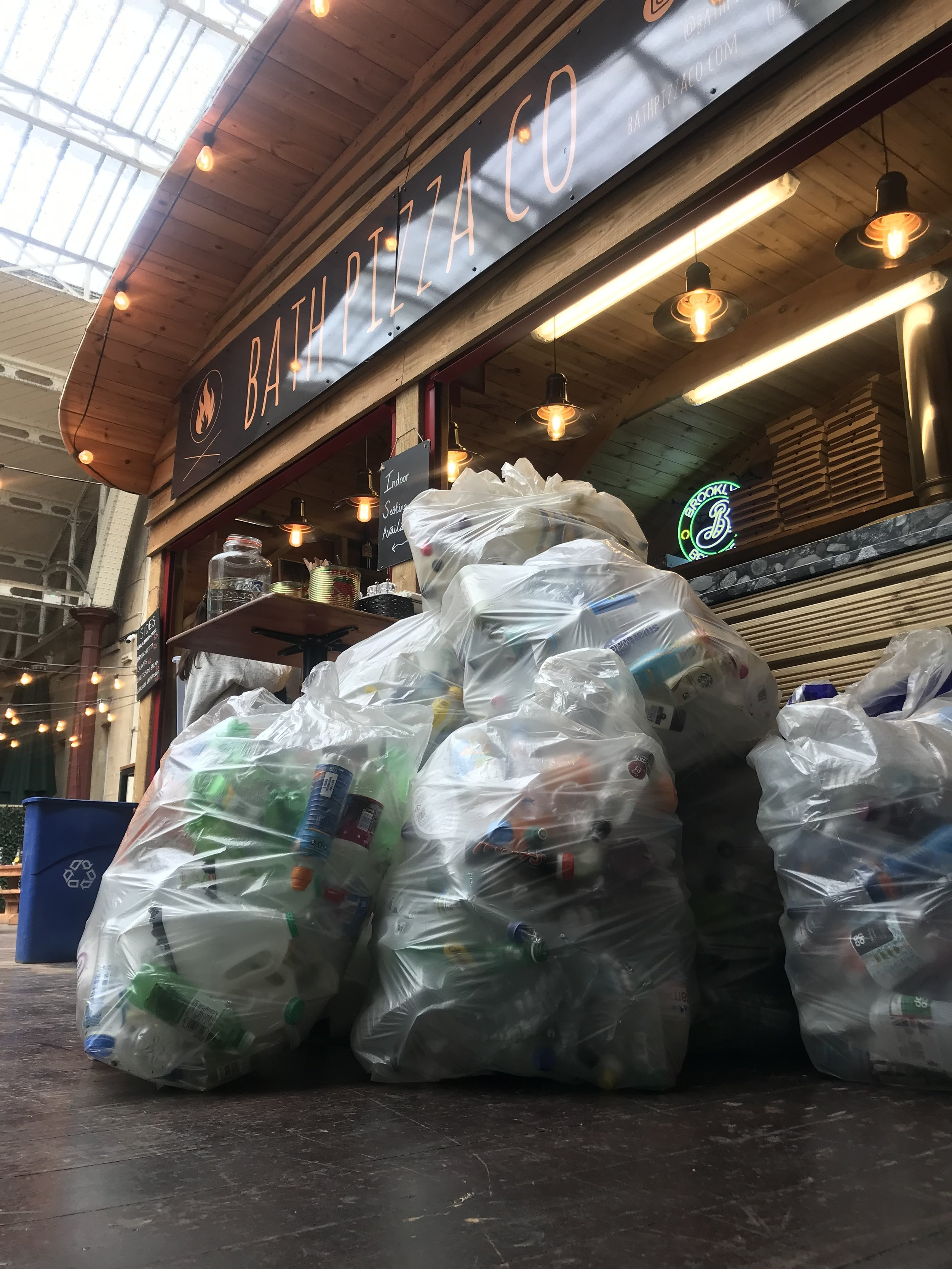 1, 736 plastic bottles were collected in just 3 hours. These will now be recycled into clothing, carpet, other plastic bottles and sleeping bags