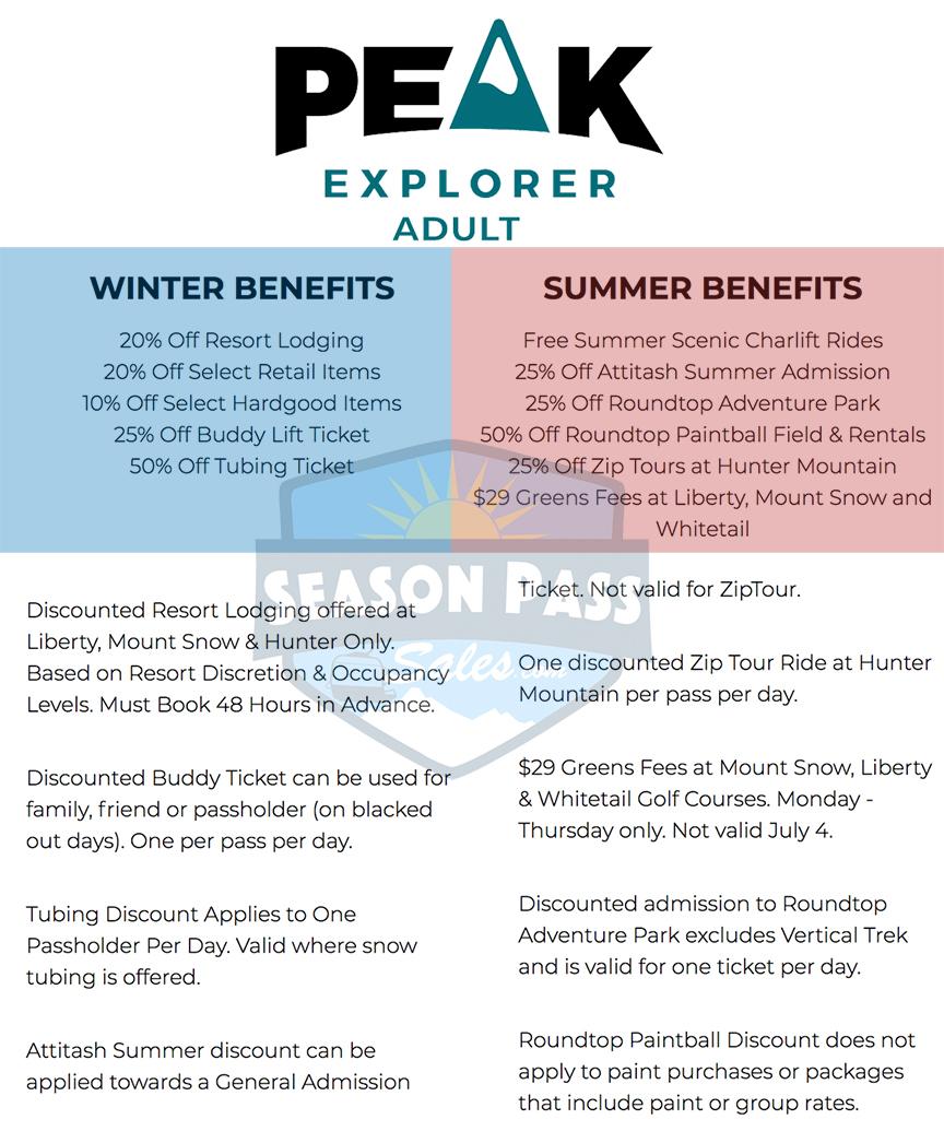 Peak Pass Explorer Benefits 2019/2020 (Adult)