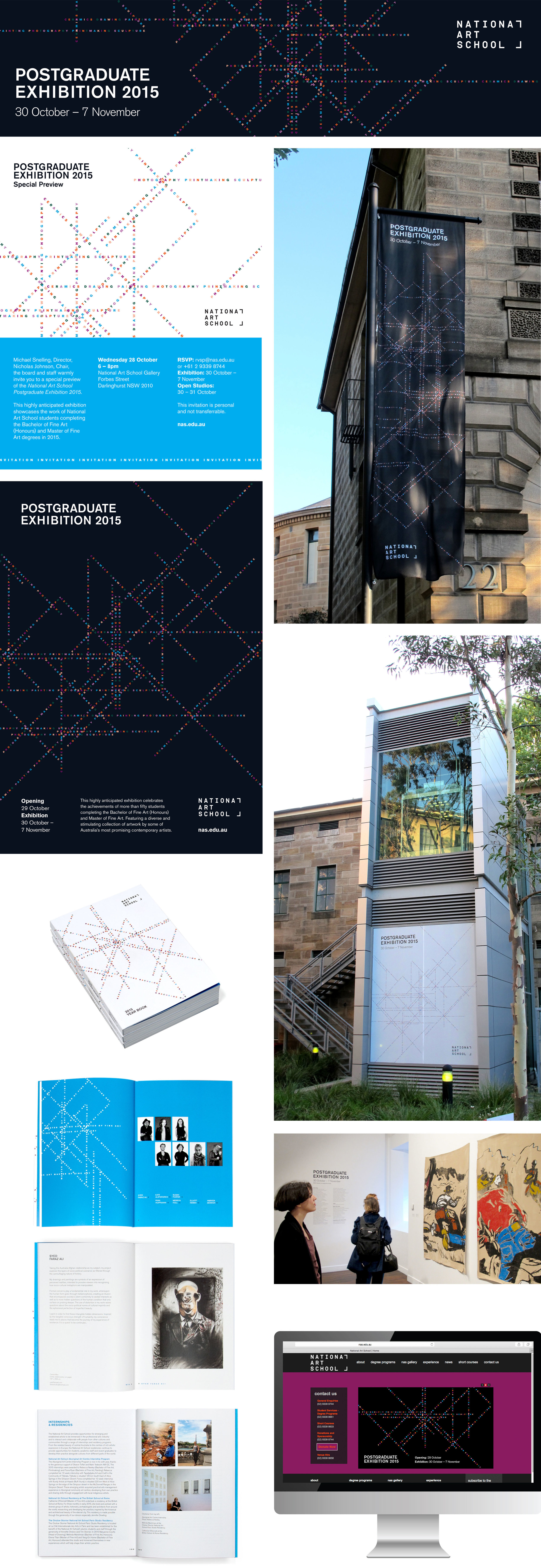 client  National Art School  Project  Postgraduate Exhibition 2015 | e-invitations, outdoor signage, end of year book, gallery signage, digitals ads & banners