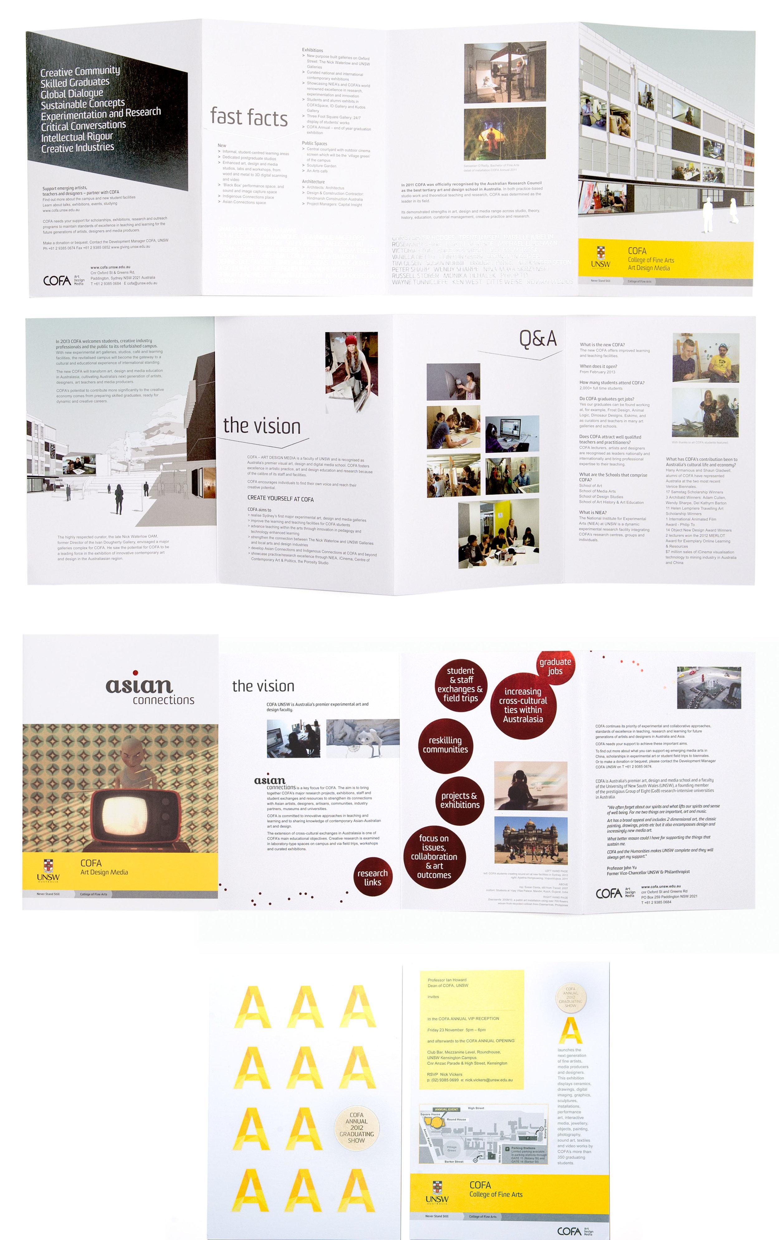 client  COFA  projects  COFA New Media brochure | Asian Connections brochure | COFA Graduating Show