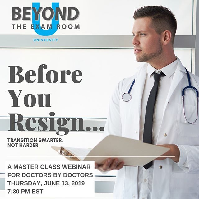 "Back by popular demand! . Over the last 6 months, so many of our SMART Docs are taking control of their careers by transitioning smarter, not harder, especially after enrolling in the Before You Resign Master Class Series. . Because the replay last month's Master Class webinar is in such high demand, we've decided to host ""Before You Resign - Transition Smarter, Not Harder"" Master Class Webinar once again. . Catch the replay this THURSDAY, 6/13/19 @ 7:30PM with a live Q&A session with Dr. Bonnie to follow!  Link in bio. . Why is this Master Class so critical? Because it's just as important how you negotiate your way out of a contract, as it is negotiating your way into one. . #contracts #negotiations #bterinformed #bterdecisions #bestlife #physicians #doctors #residents #fellows"