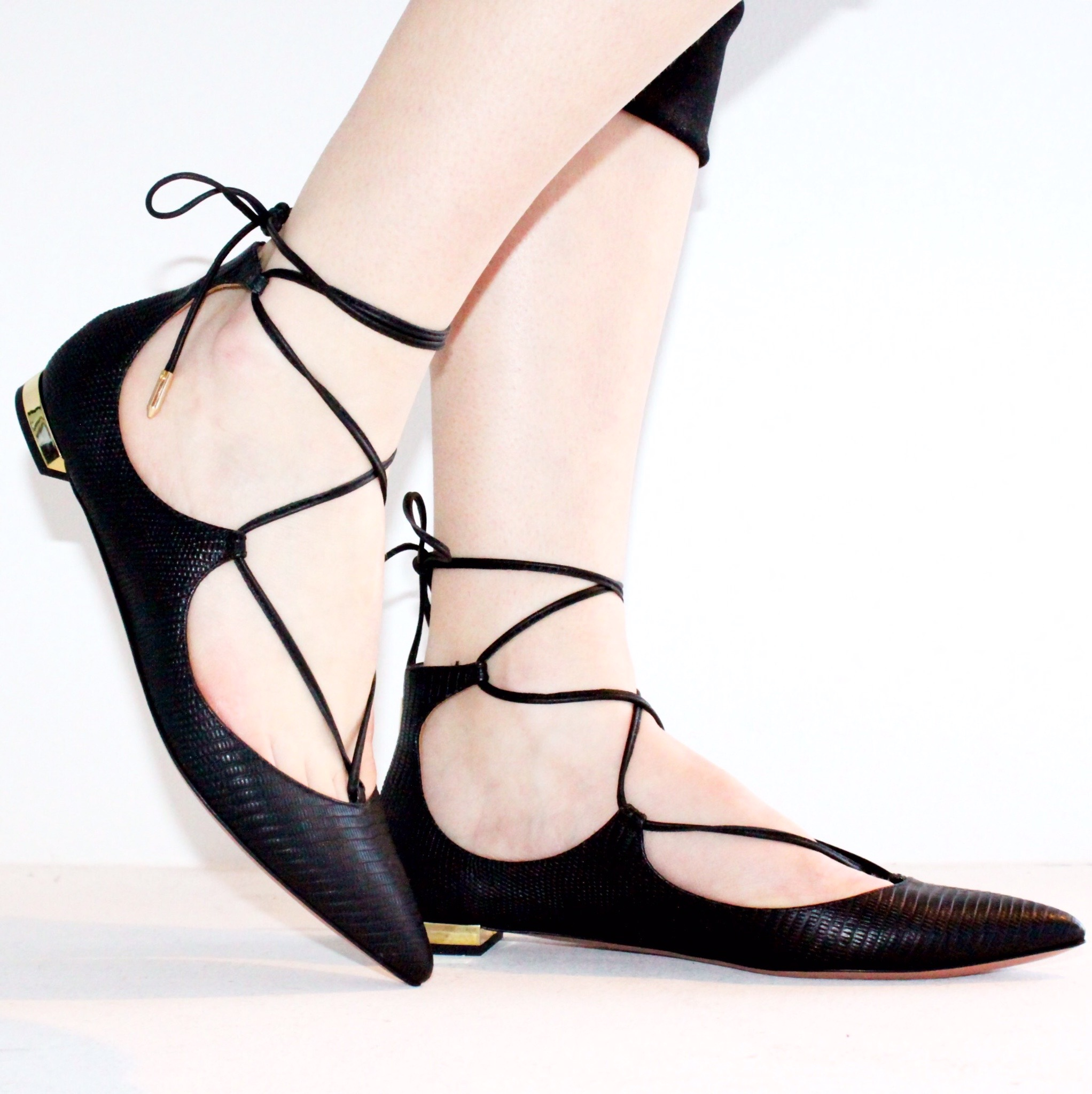 Aquazurra Lace Up Flats, $685.