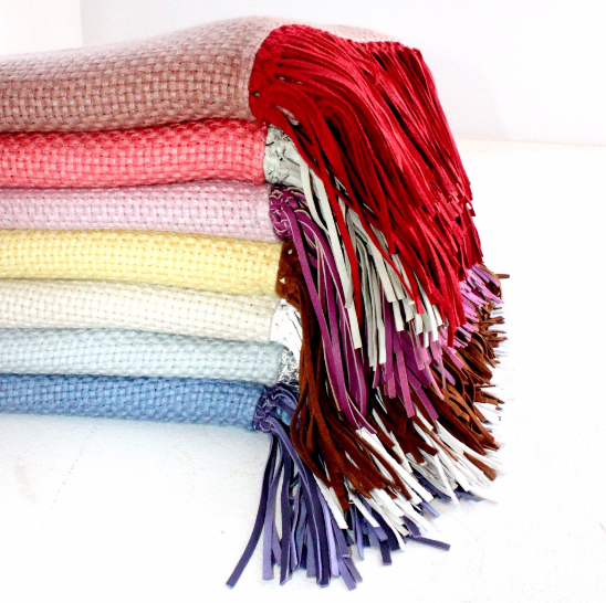 Bajra shawls, $895 each, bring light to your face.