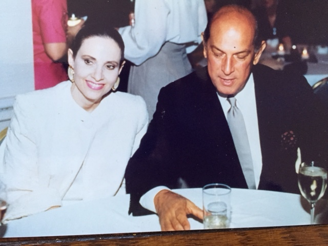 Arlene and Oscar de la Renta during the 1980s at a special event at the upscale Parisian department store where she launched her fashion career.
