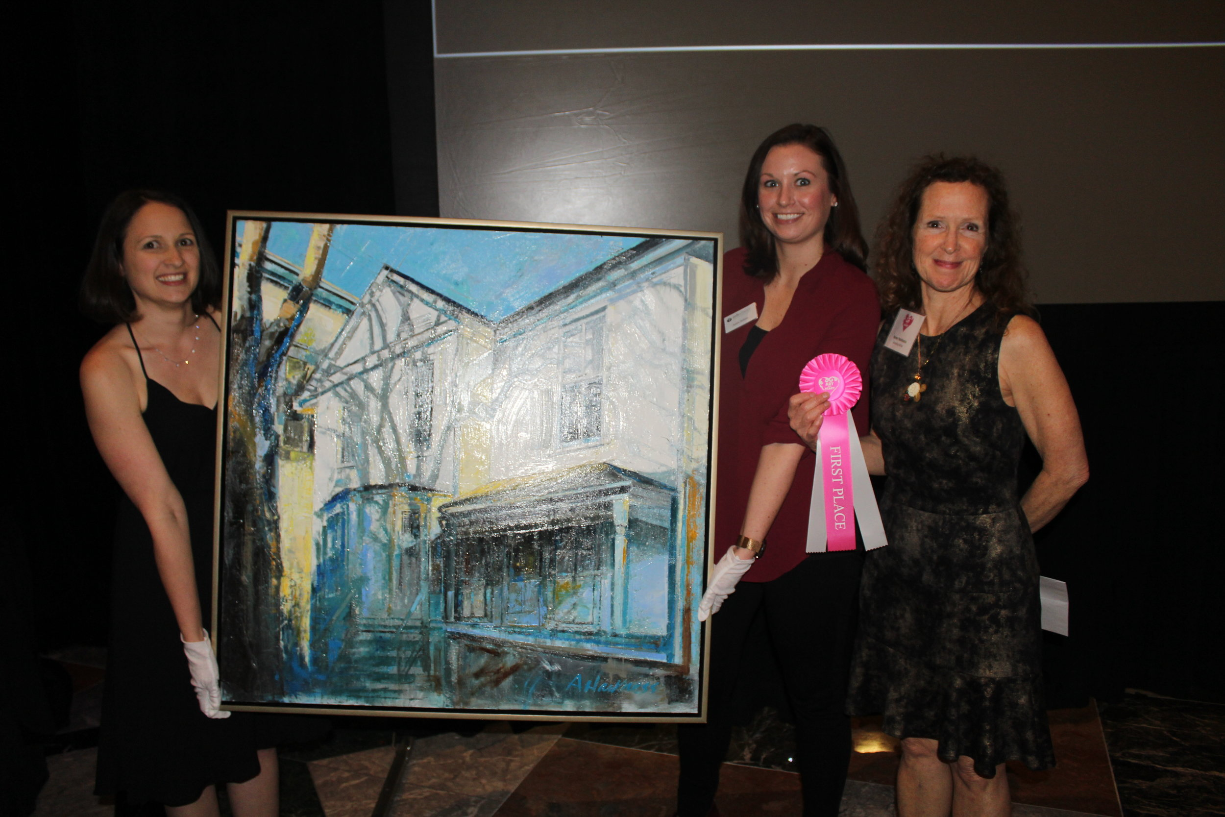 Artist Anne Hartness with her prize-winning painting.