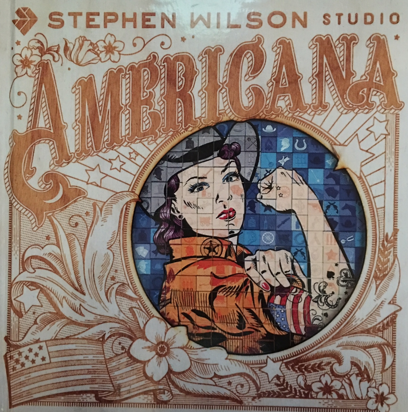 The cover of the book about the  Americana  installation features the artist's modern take on the famous Rosie the Riveter image .
