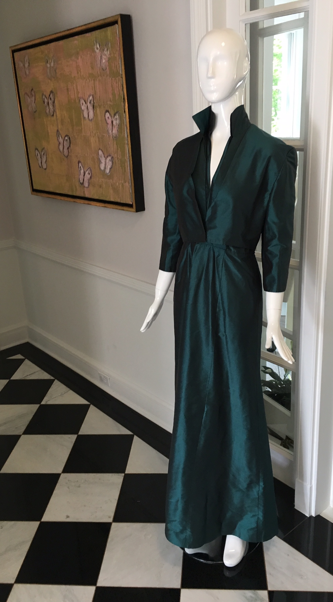 This custom Mother of the Groom gown and jacket created for the designer's mother was on display at the Victoria Cullinan brand launch party.