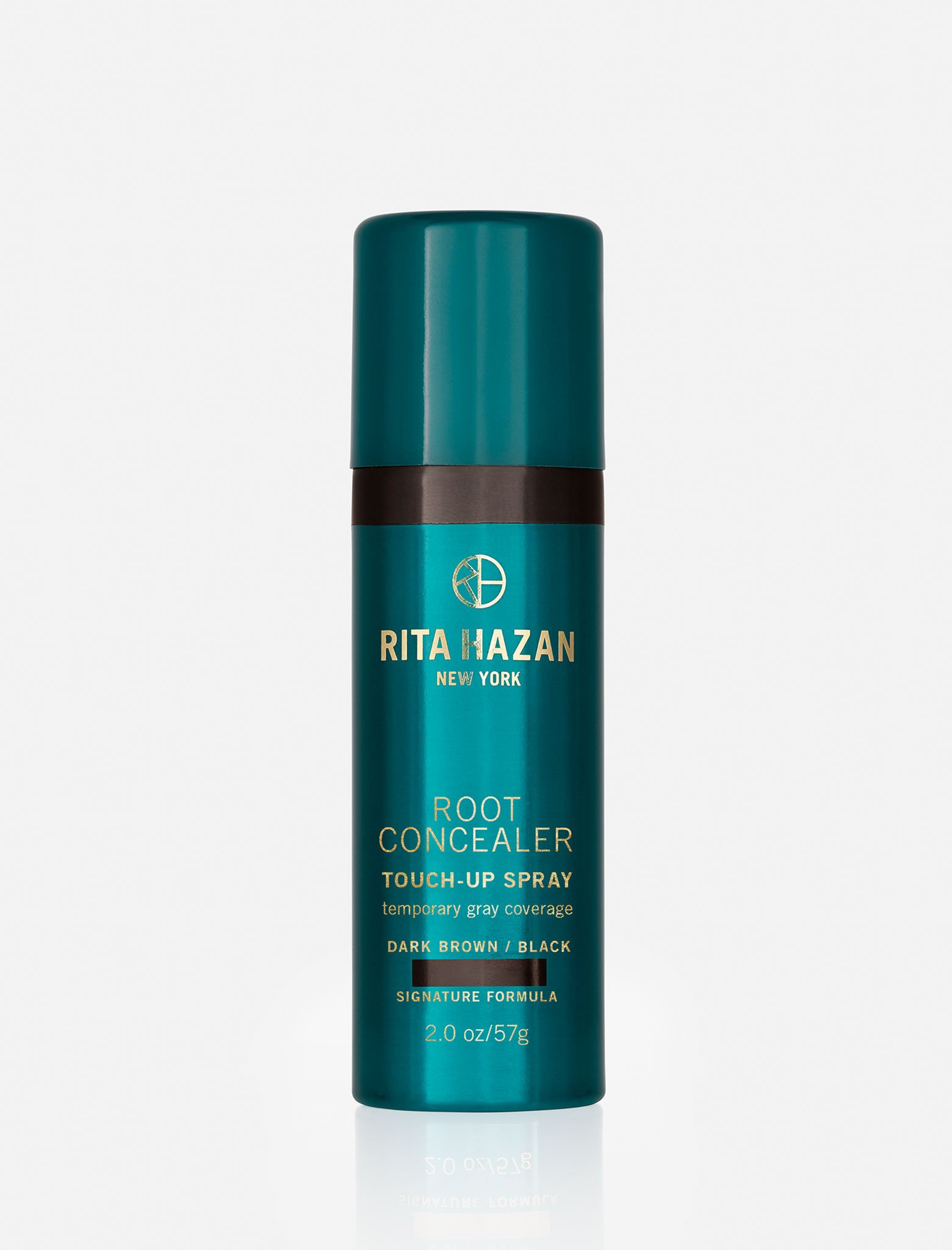 The best temporary gray coverage on the market: Rita Hazan Root Concealer Touch Up Spray.