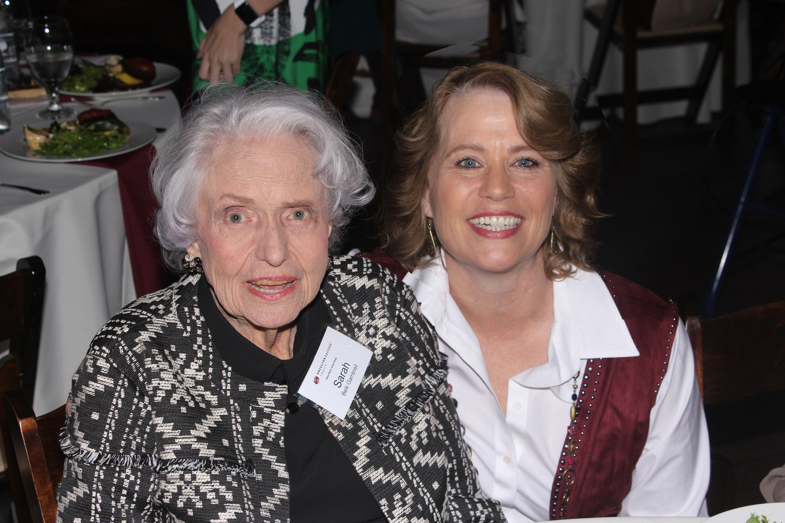 Legendary philanthropist Sarah Belk Gambrell with Dress for Success executive director Kerry Barr O'Connor.