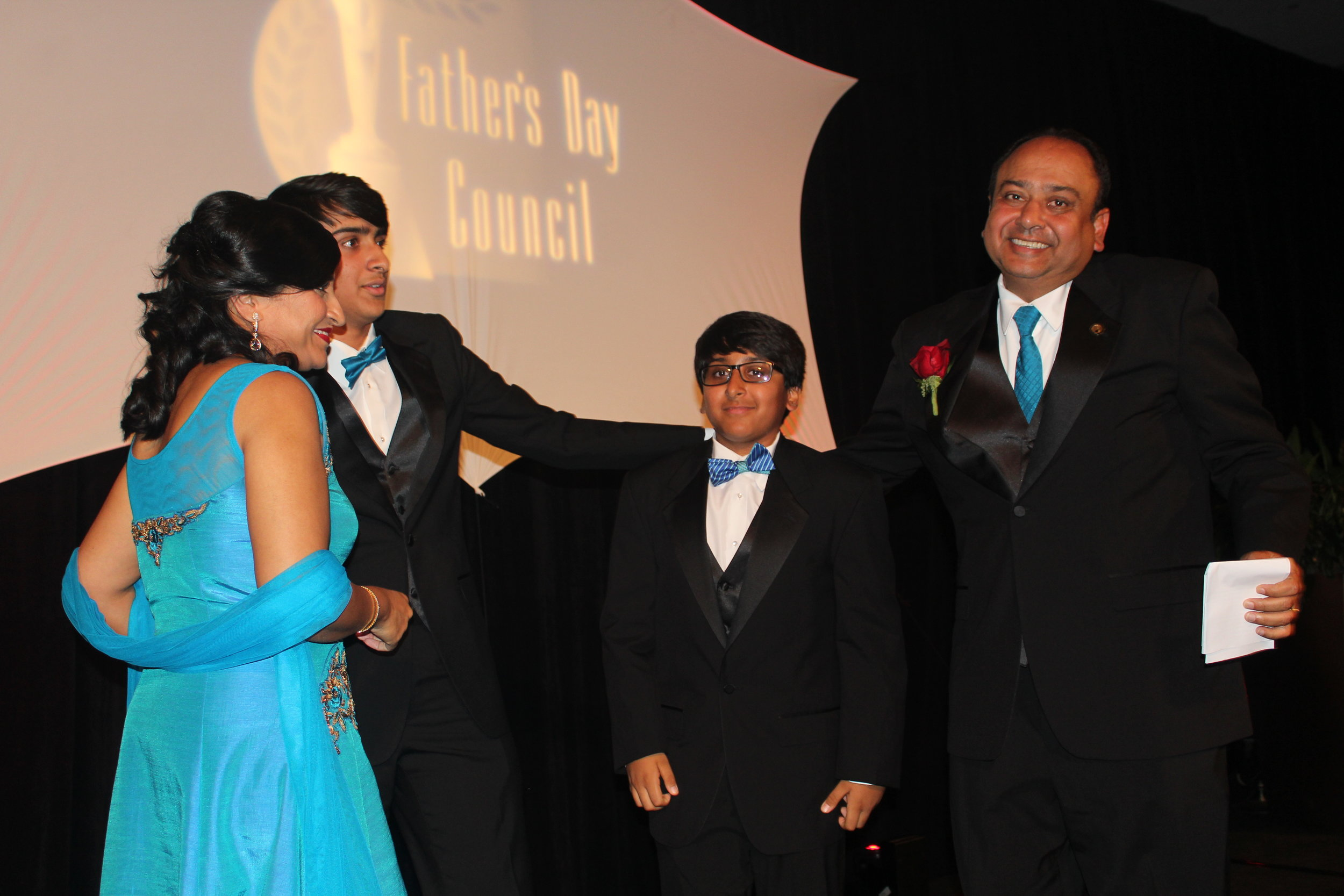 Vinay Patel surrounded by his family.
