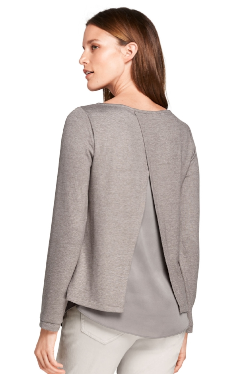Lands' End Split Back Top in Dark Alpaca Heather