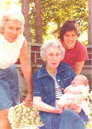 Four generations of ladies: Whitley as a baby with her great-grandmother, grandmother and mother.