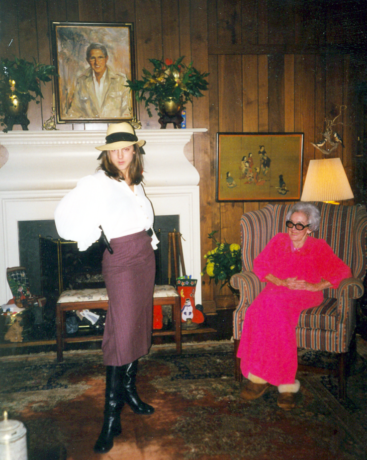 It's in their DNA: While home on Christmas Eve, a college-aged Whitley models an outfit for the amusement of her equally fabulous grandmother.