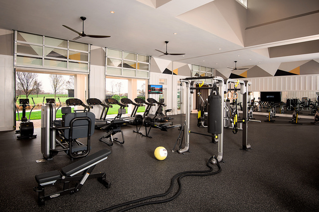 Afturburn is filled with the best new fitness gear available and has garage-style doors that can open to the outdoors on nice days.  Photo courtesy of Trilogy Lake Norman.