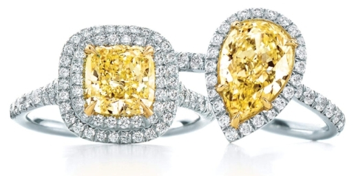 Yellow diamonds are a popular option. Tiffany Soleste Cushion, left, priced from $16,200; and Tiffany Soleste Pear, priced from $7,400.