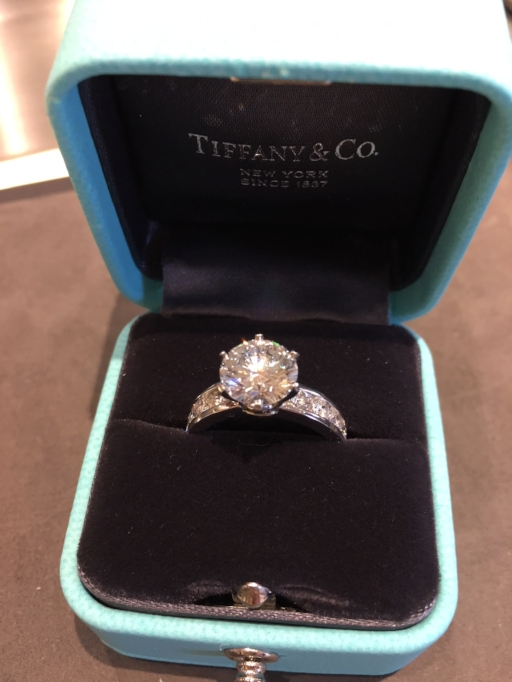 This classic six-prong Tiffany engagement ring is set in platinum with a total of 3 carats in diamonds. $64,500.