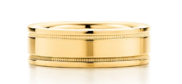 Tiffany Flat double milgrain men's wedding band in 18k gold, 6 mm wide, $1,475.