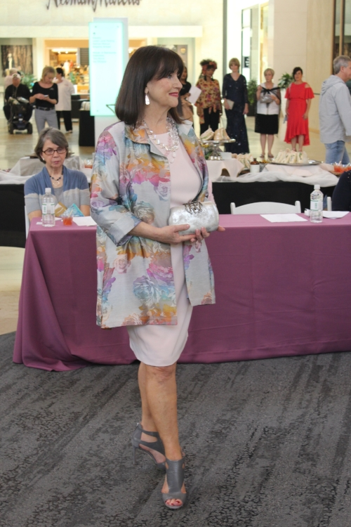 Dianne in a stunning Caroline Rose floral jacquard coat from Dillard's.