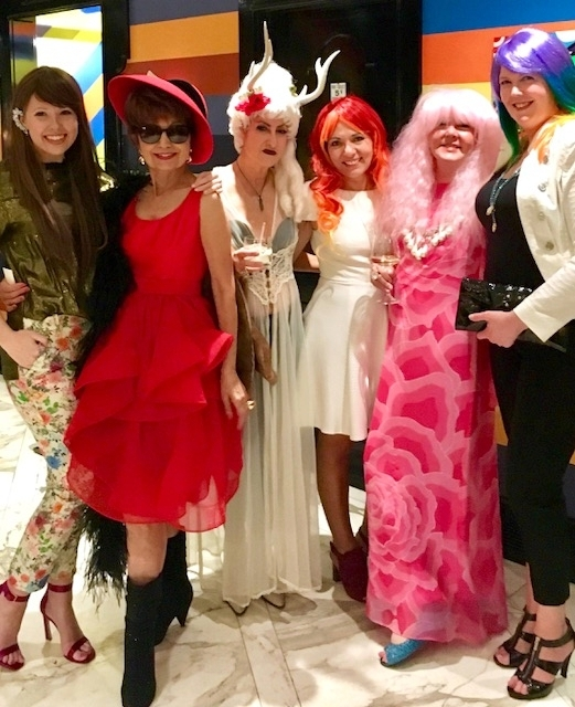 From left: Regine Bechtler's daughter, Marie; Berhan Nebioglu; prize-winning wig wearer Ruth Ava Lyons; Claudia Griffin; Pam Stowe; and Olivia Fortson.
