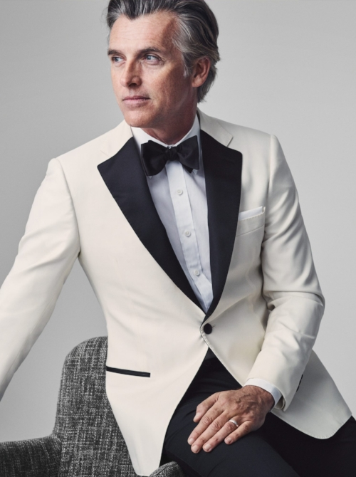 Ivory Revenge tuxedo jacket (starting at $725); Super Black tuxedo trouser ($250); White Poplin shirt ($185); Black Satin self-tied bow tie ($55) and white cotton/linen pocket square ($49).