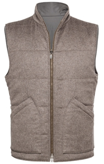 Taupe textured solid reversible vest ($400).