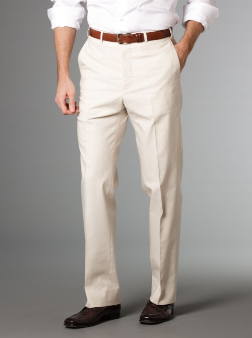 Khaki/off white luxury blend trouser ($125).