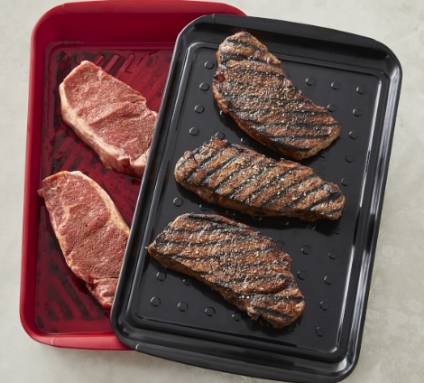 Grill safely with Williams Sonoma's two piece BBQ Marinade Tray.