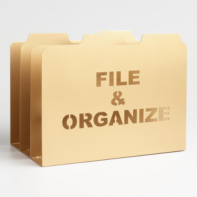 Gold Metal Lucas File Storage, $17.48. World Market