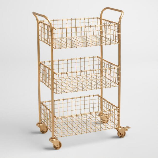 Gold Wire Antonia Rolling Cart, $99.99. World Market
