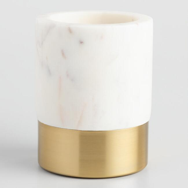 Marble And Gold Metal Maxwell Pencil Cup, $19.99. World Market