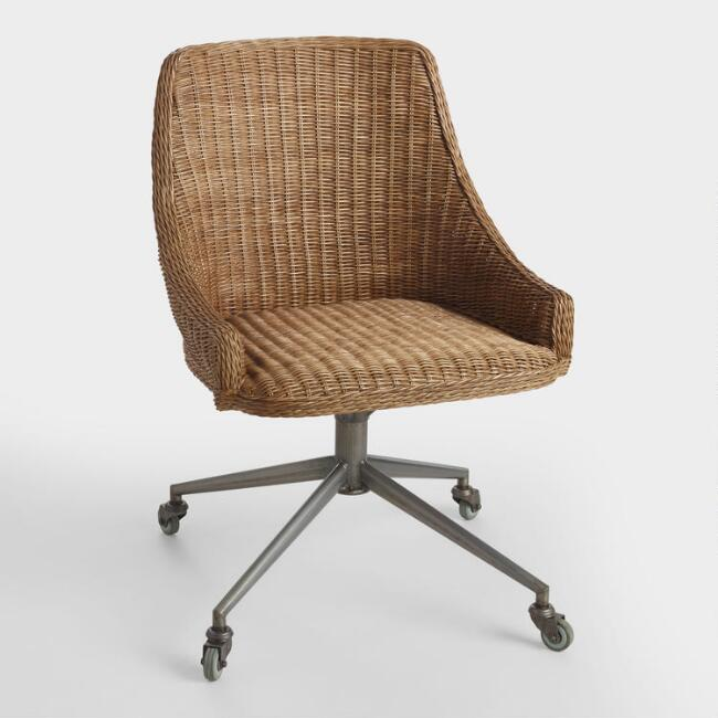 Honey Brown Wicker Tania Office Chair, $249.99. World Market